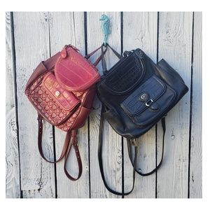 Two Brighton Leather And Fabric Backpacks